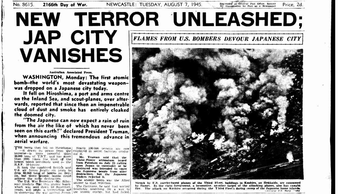 Newspaper article: New terror unleashed; Jap city vanishes