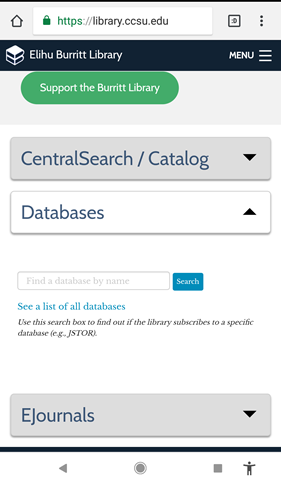Library's homepage Databases tab on a mobile devic