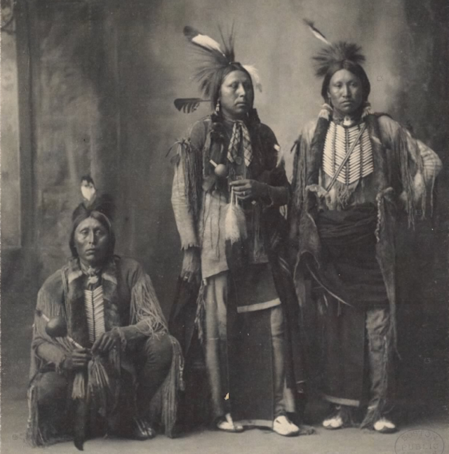 3 Native Americans in traditional attire
