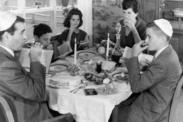 Jewish family eating together