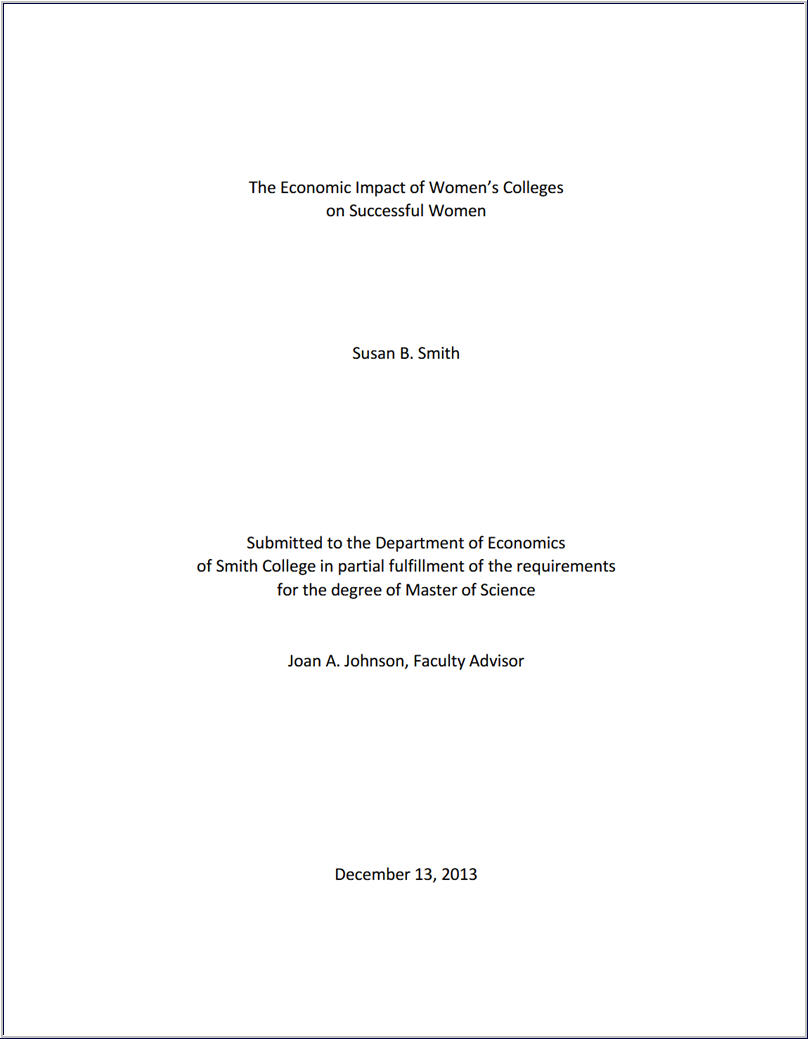 mock-up of Masters Thesis title page