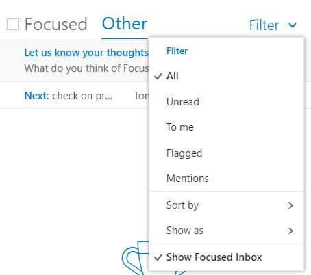 focused filter options