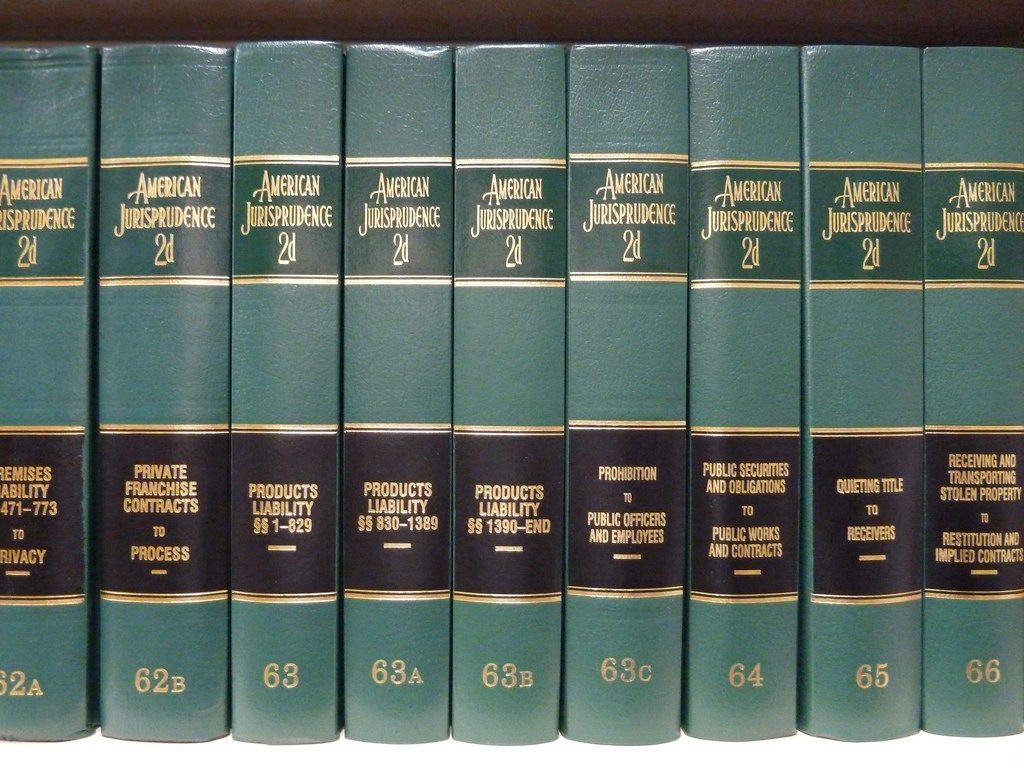 American Jurisprudence books on a shelf in a library