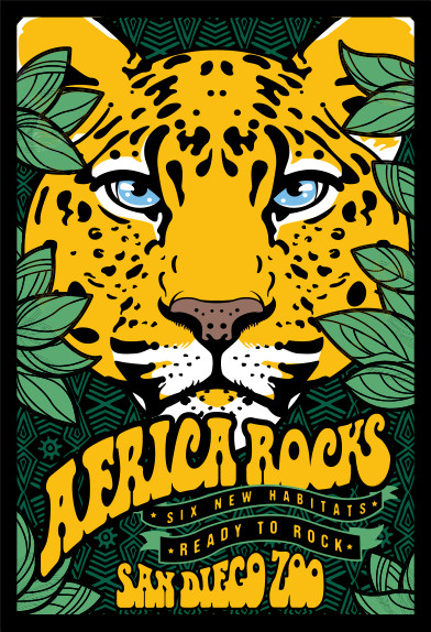 Africa Rocks poster, leopard, San Diego Zoo