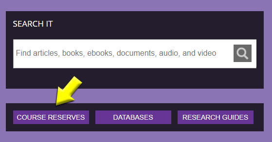 course reserves button below search form field