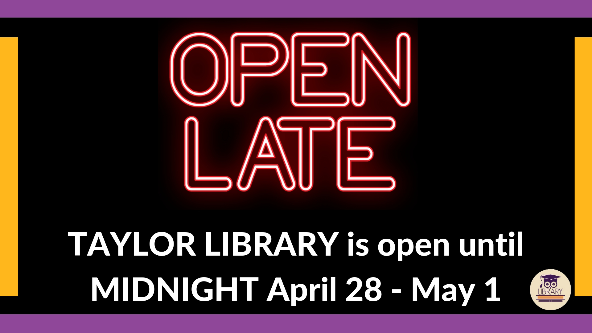 Library is open until Midnight December 9-12