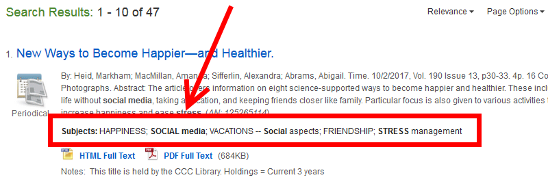 Subject tags in EBSCO.