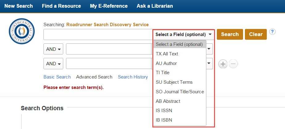 Screenshot of Roadrunner Advanced Search showing the search fields drop-down menu.