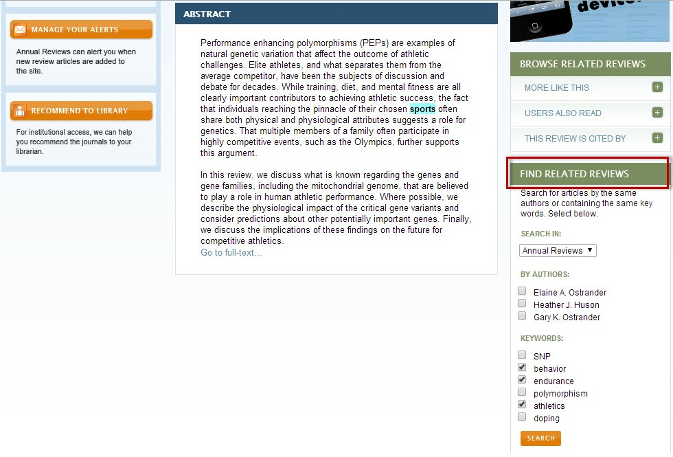 Annual Reviews article record screen with the Find Related Reviews section highlighted.