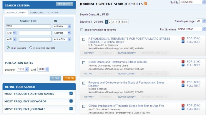 Screenshot of the Annual Reviews search results screen.