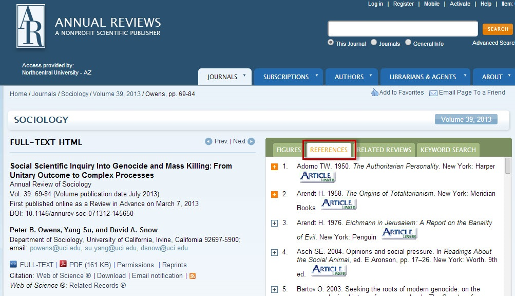 Annual Reviews article record sceen with the References tab highlighted.