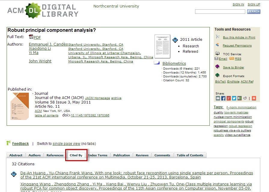 ACM Digital Library article record screen with the Cited By tab highlighted.