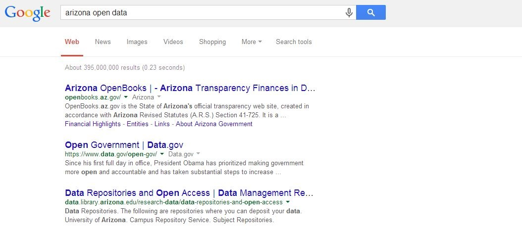 Screenshot of Google search results for search terms arizona open data.