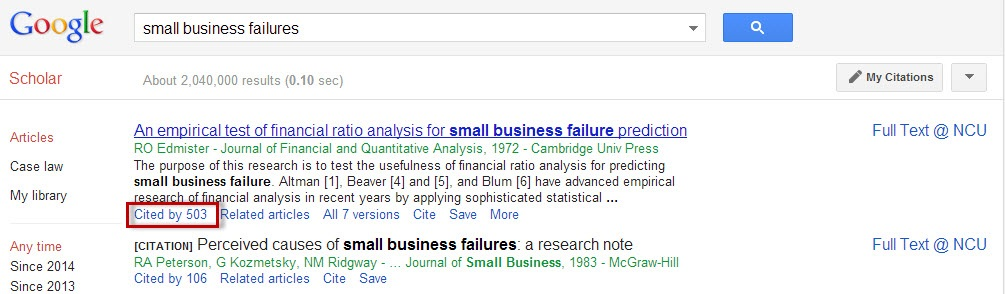 "Google Scholar screenshot with the ""Cited by"" link highlighted."