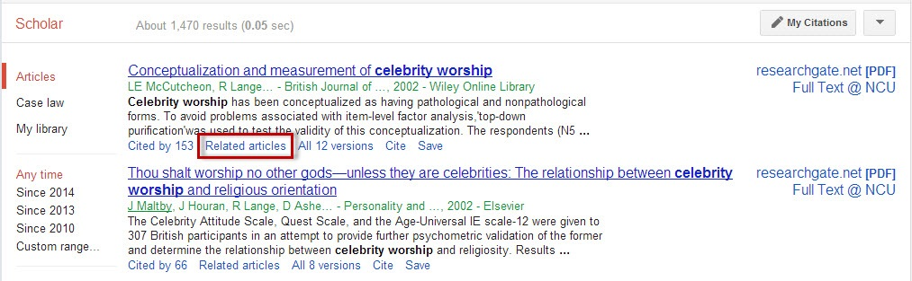 Google Scholar search results screen with the Related Articles link highlighted.