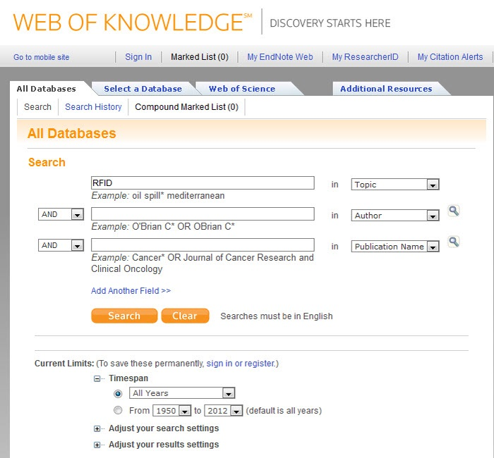 Screenshot of the Web of Knowledge search screen.
