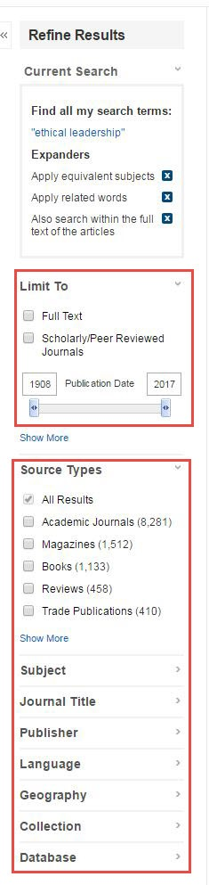 Roadrunner Search results screen showing the Refine Results column on the left.