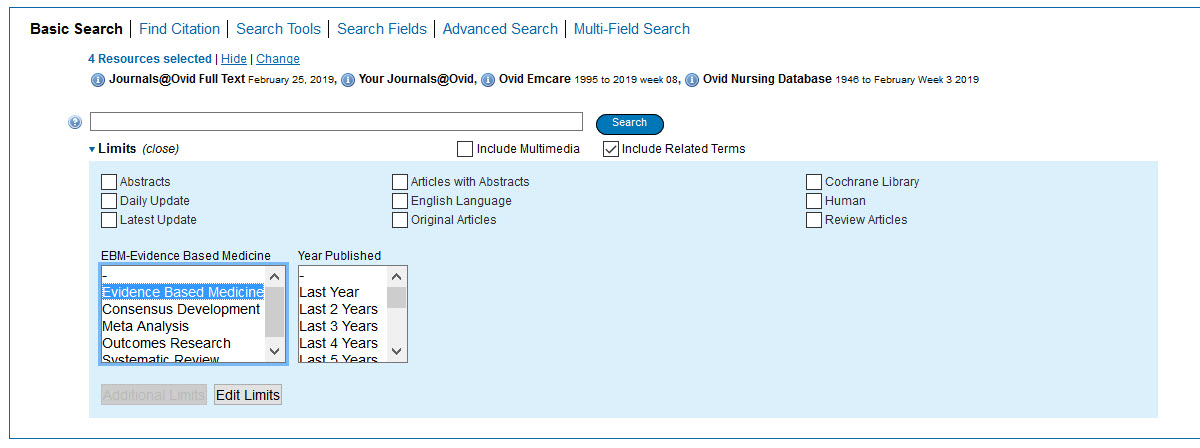 Screenshot of the OVID basic search screen with Evidence Based Medicine selected.