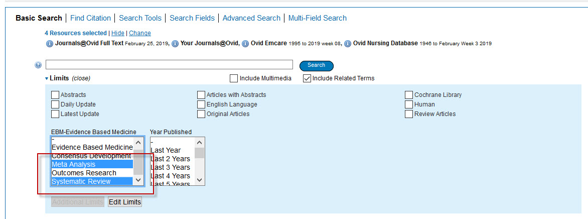 Screenshot of the OVID search screen with Meta Analysis and Systematic Review selected.