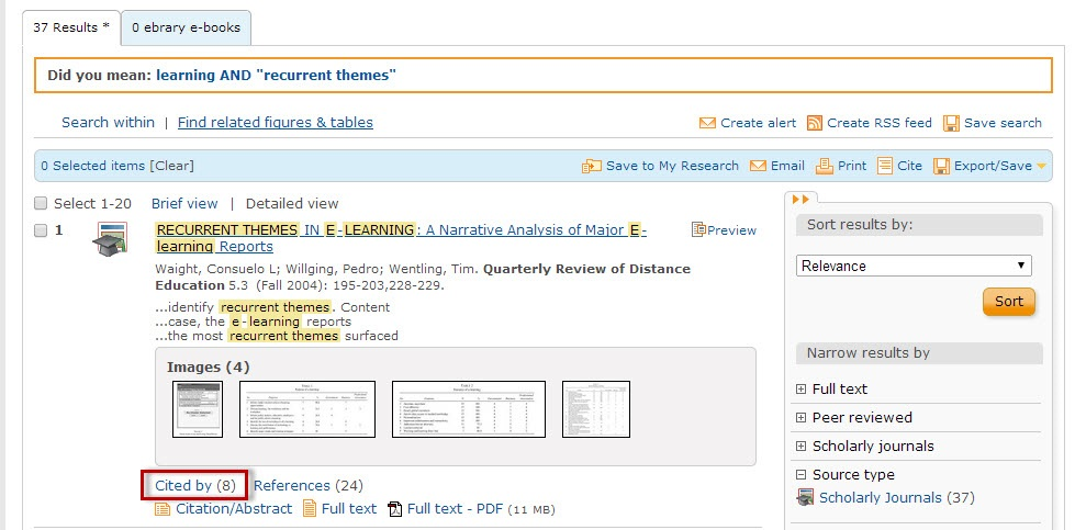 ProQuest search results screen with the Cited by link highlighted.