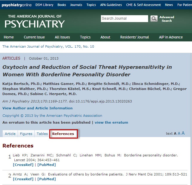 PsychiatryOnline article record sceen with the References tab highlighted.