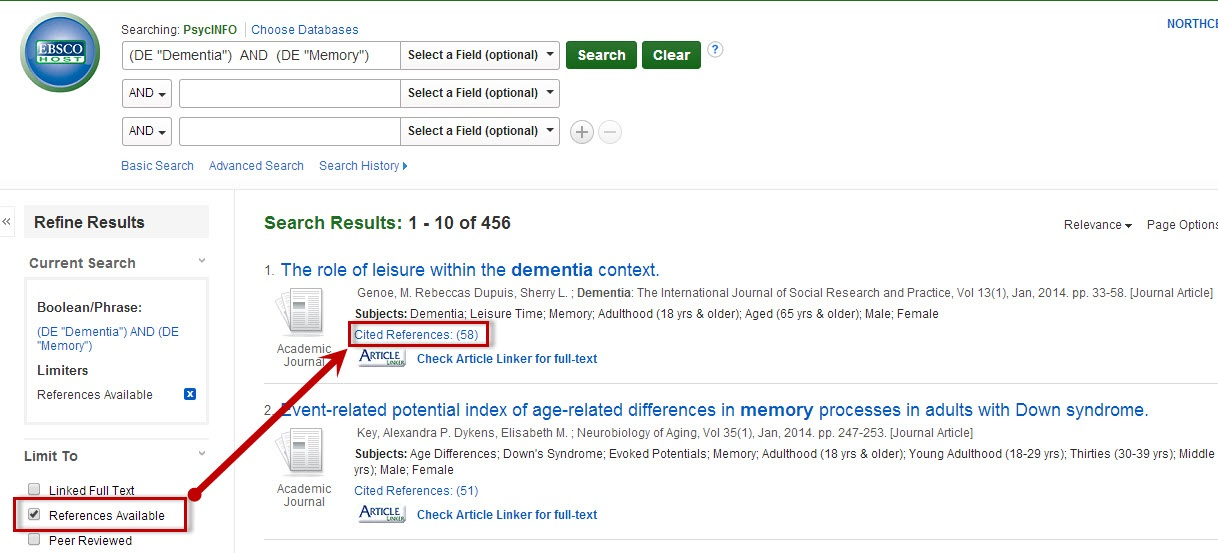 PsycINFO article detailed record sceen with the Cited References link highlighted.