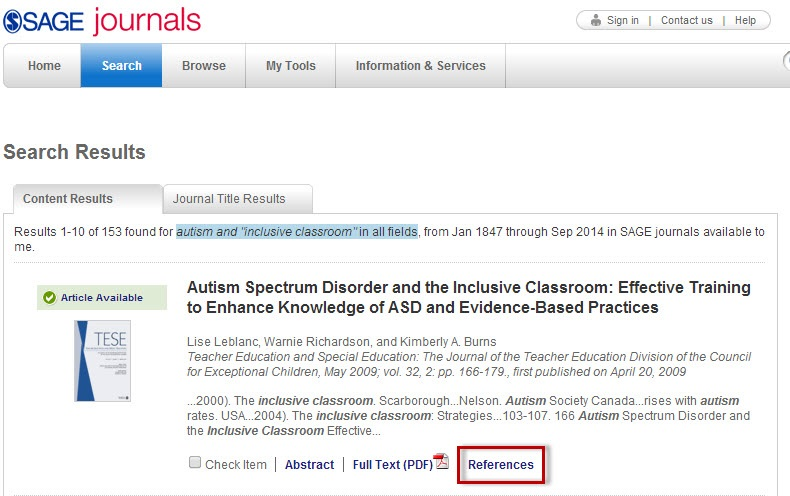 SAGE Journals search results sceen with the References link highlighted.
