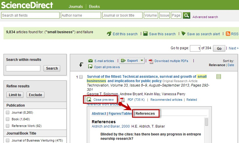 ScienceDirect search results sceen with the References link highlighted.
