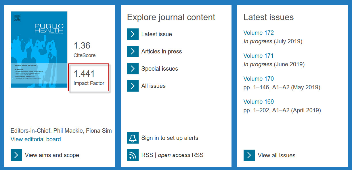 Screenshot of ScienceDirect showing the impact factor for a journal.