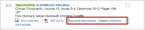 ScienceDirect search results screen with the Recommended articles and Related reference links highlighted.