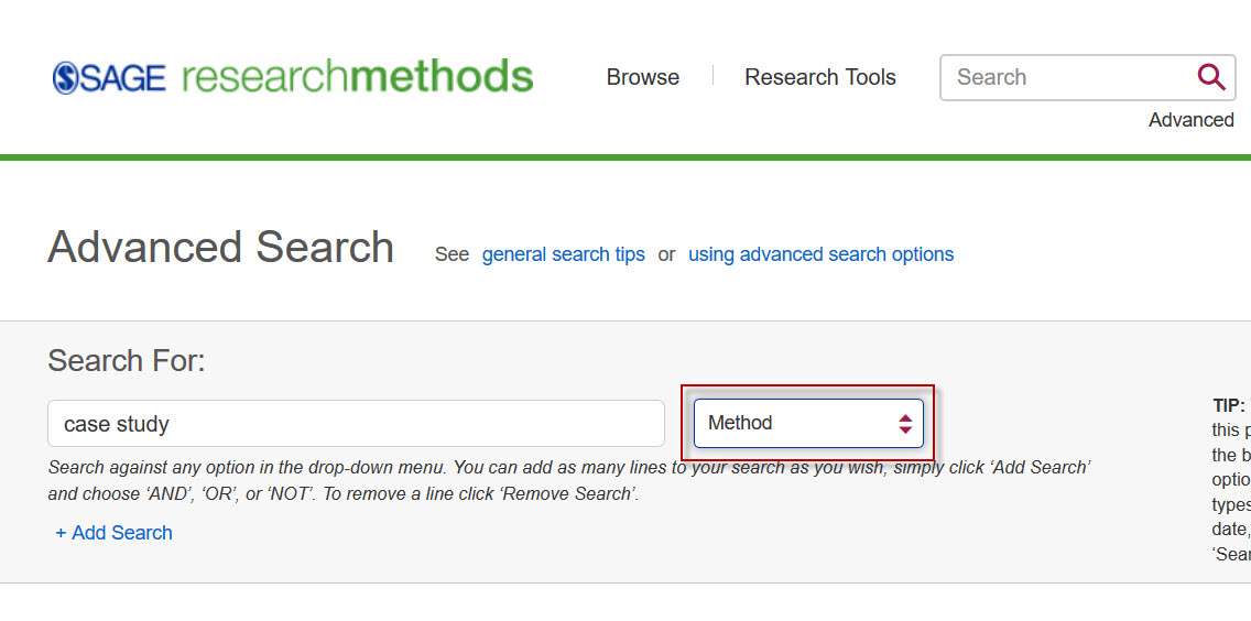 SAGE Research Methods Advanced Search screen with the Method field selected.