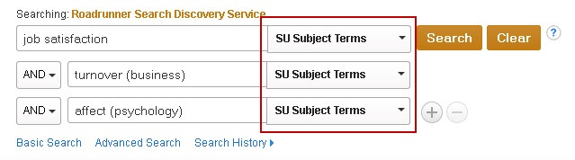 Roadrunner Advanced search screen showing an example search for SU Subject Terms.