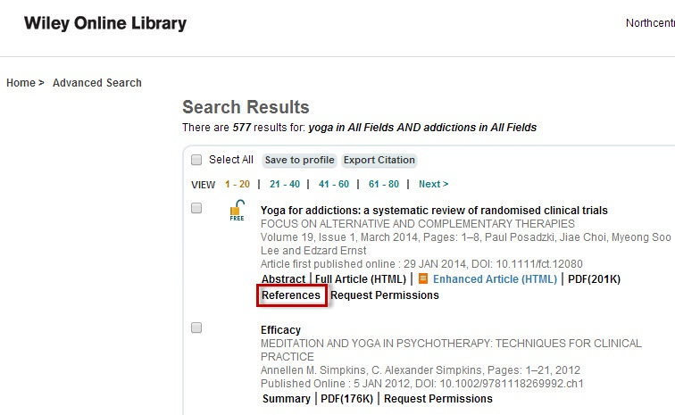 Wiley Online Library search results sceen with the References link highlighted.