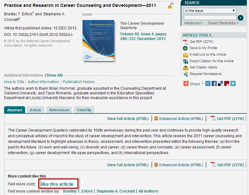 "Wiley Online Library article record screen with the ""like this article"" link highlighted."