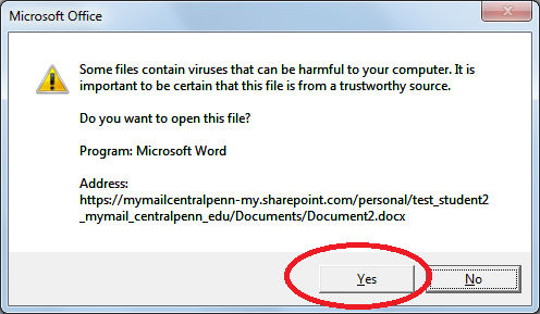 Yes to open file
