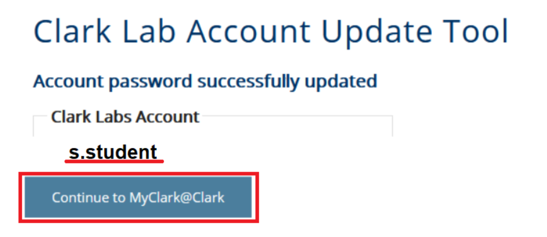 Account password successfully updated message