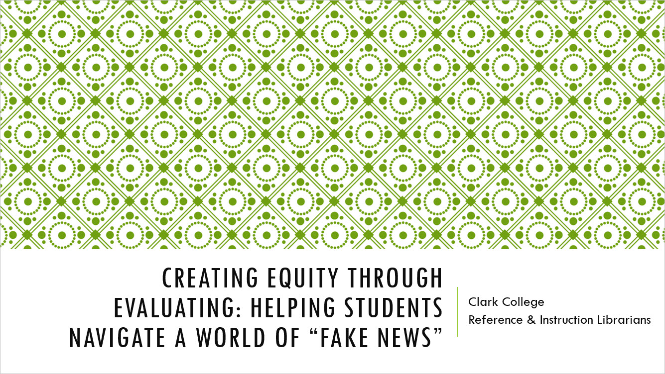 Creating Equity through Evaluating PowerPoint title slide