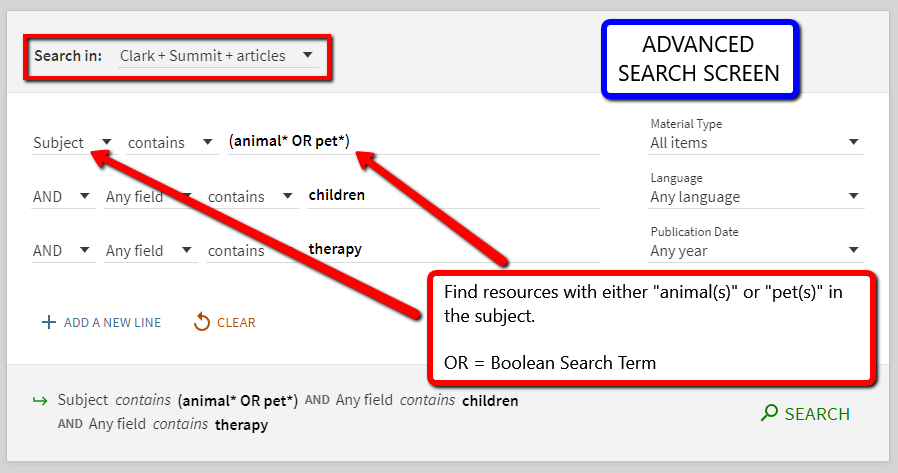 Advanced Search Example of Search Words, Truncation and Boolean Terms