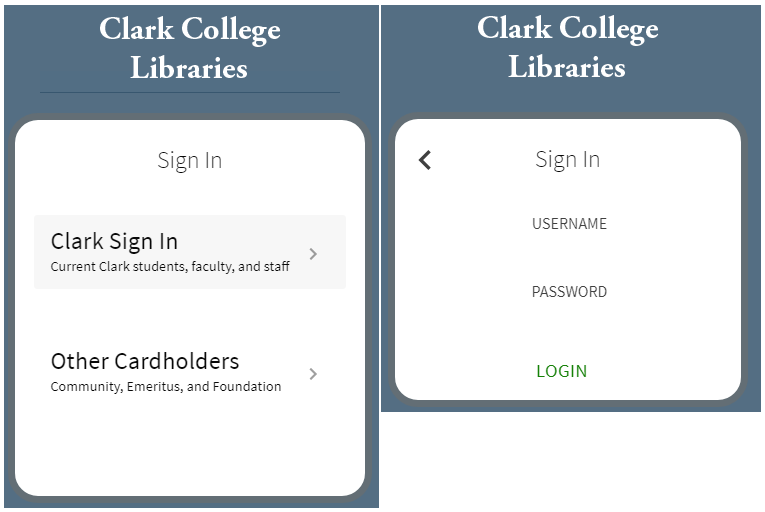 Clark College Libraries log in page