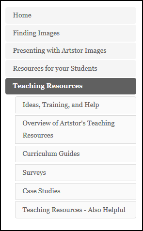 screenshot of the menu from the instructor's guide to artstor