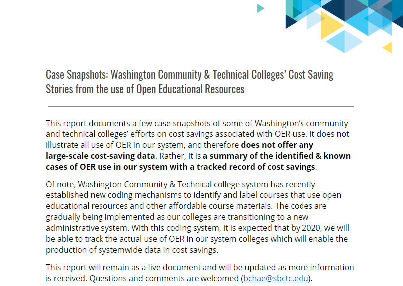 Screenshot of first page of linked document: Case Snapshots: Washington Community & Technical Colleges' Cost Saving Stories from the use of Open Educational Resources