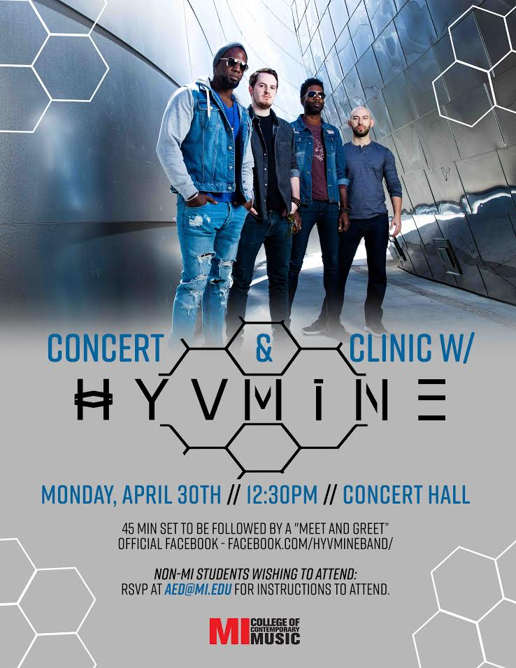 CONCERT & CLINIC WITH HYVMINE MONDAY, APRIL 30, 2018, 12:30 – 2:30PM