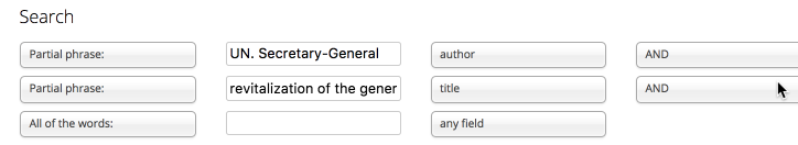 Search by author and title in the digital library advanced search