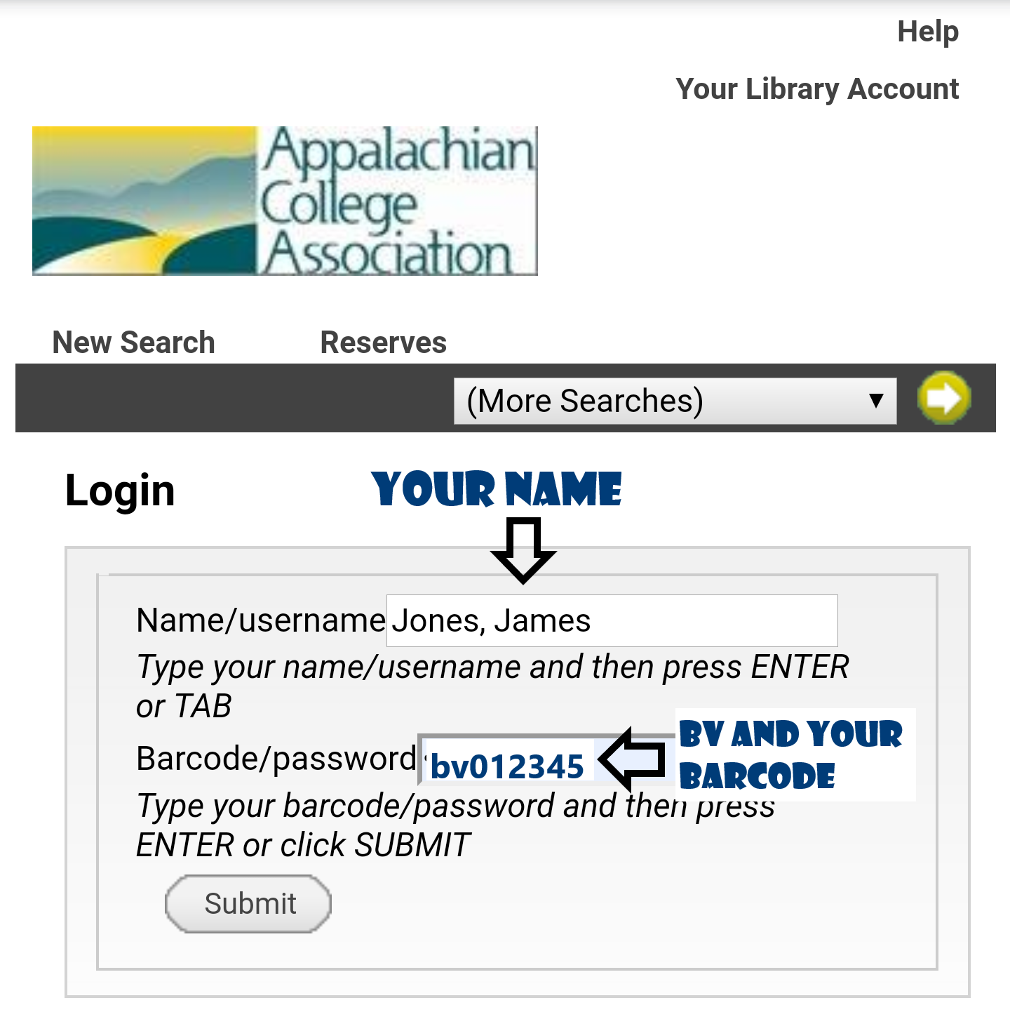 Username: your name, last name first. Password: lowercase bv followed by your 6-digit ID number (no spaces)