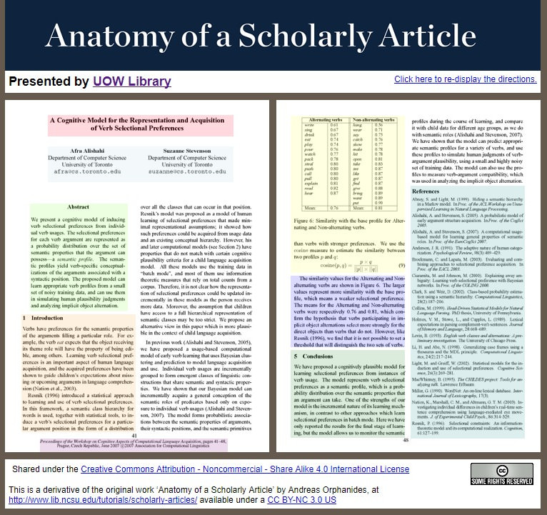 Identify what a scholarly article looks like with our interactive webpage that describes each element.