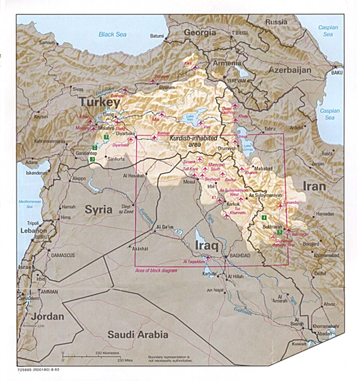 Map of Kurdish lands
