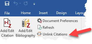 Unlink citations in Word