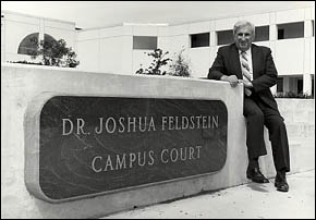 Dr. Feldstein at the Campus Court of the Student Center