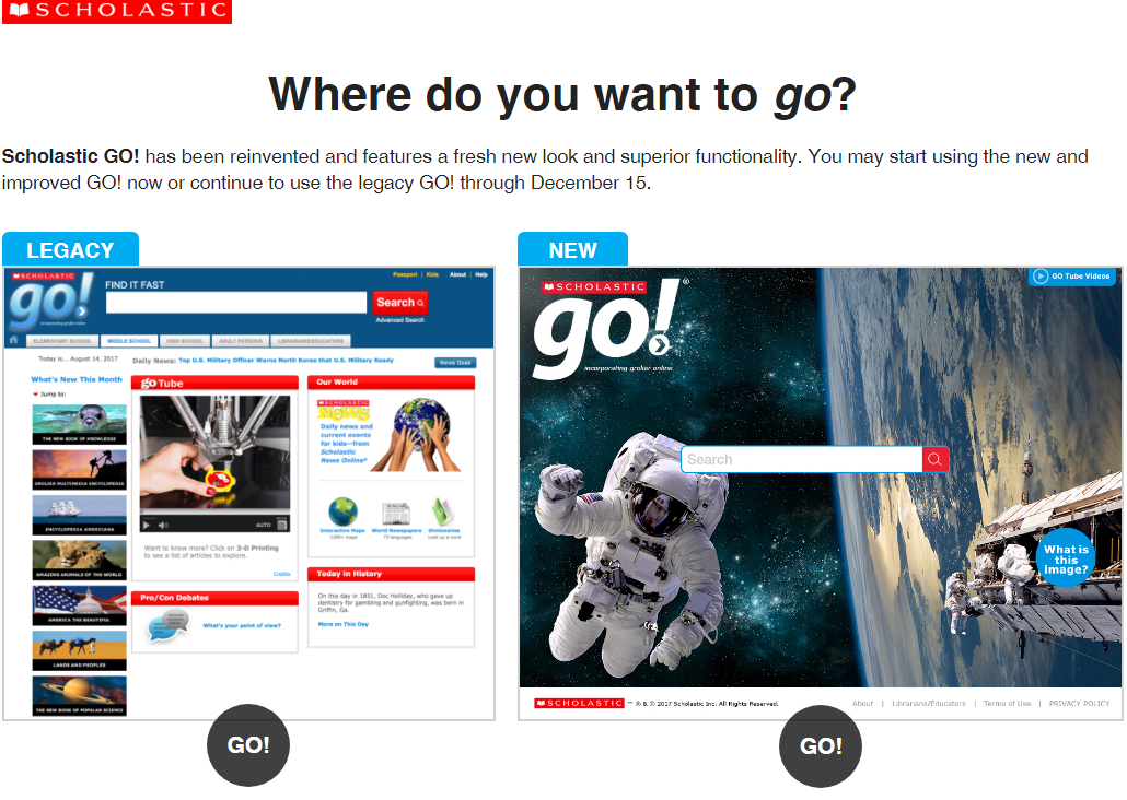 Image of old Grolier interface side by side with the new Scholastic GO interface