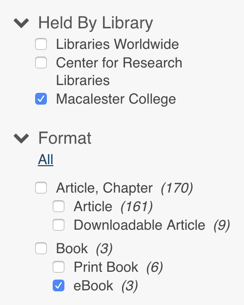 screen shot of limiting by library and format in the library catalog